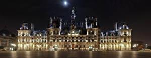 Фотографии Франция Ночные Городской площади Париже Уличные фонари hotel de Ville город