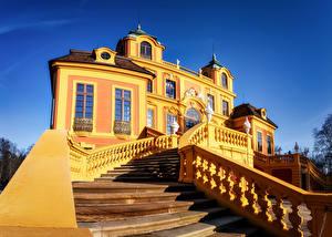 Картинка Германия Здания Дворец Лестницы Дизайна Ludwigsburg город