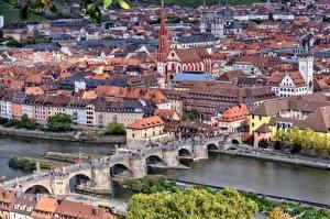 Обои Германия Речка Мост Здания Бавария Сверху Würzburg, river Main город