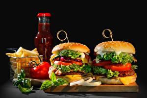 Фотографии Гамбургер Быстрое питание Овощи Кетчупом
