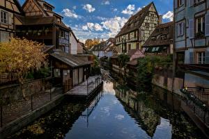 Фотография Здания Франция Водный канал Colmar, Alsace Города