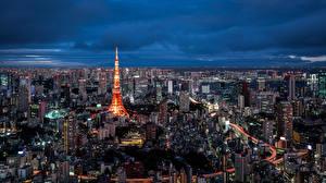 Фотография Дома Небоскребы Токио Япония Мегаполис Tokyo Tower Города