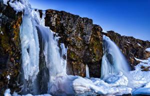 Фотография Исландия Водопады Утес Льда Akureyri Природа