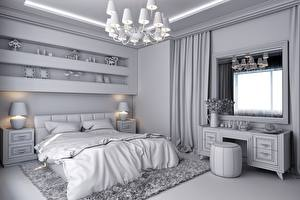 Обои Интерьер Спальни Люстра Окно Кровать Ламп Дизайна 3D Графика