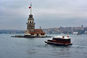 Обои Стамбул Турция Катера Маяк Bosporus город