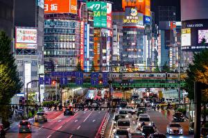 Фото Япония Токио Здания Дороги Вечер Мегаполиса город