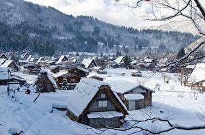 Картинки Япония Зимние Здания Село Снега Shirakawa Go, Gifu Prefecture город