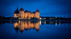 Обои Озеро Замок Германия Отражается Schloss Moritzburg Природа
