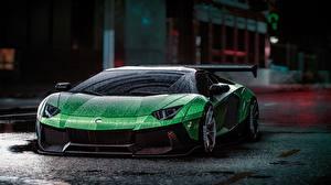 Обои Lamborghini Need for Speed Зеленая Капля Aventador Liberty Walk, 2015 game art Автомобили