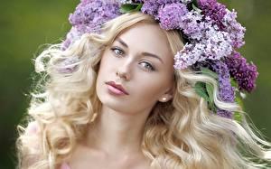 Картинка Сирень Лицо Смотрит Волос Блондинок Красивая молодые женщины