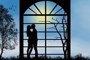 Фото Любовь Любовники Силуэта Ветвь 2 Свидании Целует