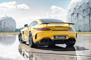 Фотография Мерседес бенц Сзади Желтая G-Power AMG GT R 2019 GP 63 Bi-Turbo Автомобили