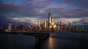 Картинка Утро Рассвет и закат Дома США Hoboken, New Jersey город