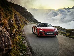 Обои Горы Ауди Красный Металлик Едущий Родстер R8, Spyder, V10, 2020, RWD машины
