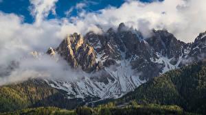 Картинки Гора Леса Италия Облако San Candido, Dolomites Природа