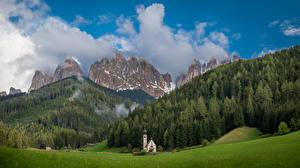 Фотография Гора Италия Дерево Облачно Bolzano, Dolomites Природа