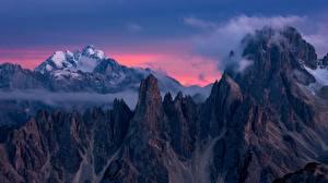 Фото Горы Италия Скале Dolomites, Devils Tower, Torre del Diavolo, Cadini di Misurina Природа