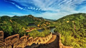Обои для рабочего стола Китай Горы Великая Китайская стена Пейзаж HDR Природа