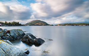 Картинки Норвегия Камень Берег Залива Uskedal Природа