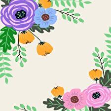 Обои Рисованные Сером фоне Шаблон поздравительной открытки цветок