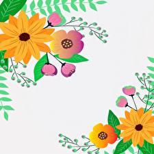 Картинки Рисованные Сером фоне Шаблон поздравительной открытки цветок