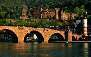 Фотографии Речка Мост Замок Германия Heidelberg castle, Neckar river