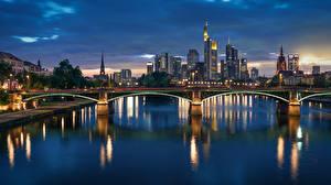 Картинки Речка Мосты Франкфурт-на-Майне Германия Ночью город