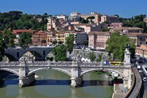 Фото Рим Италия Речка Мосты Tiber Города