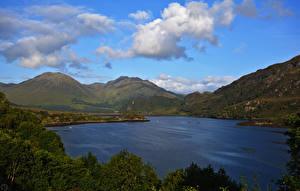Фотографии Шотландия Озеро Побережье Холмы Loch Long Dornie Природа