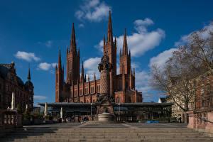 Обои для рабочего стола Небо Церковь Германия Облако Marktkirche, Wiesbaden город