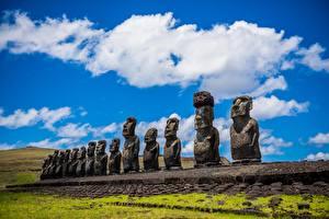 Картинки Камень Скульптура Чили Easter island, Moai