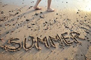 Обои Лето Песок Английская Слово - Надпись