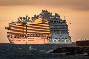 Обои Рассвет и закат Круизный лайнер Море Regal Princess