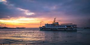 Фотографии Рассветы и закаты Корабль Турция Bosporus