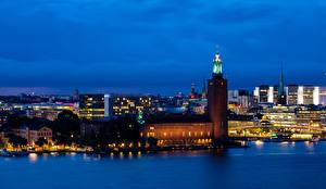 Фотография Швеция Стокгольм Ночные Башни город