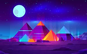 Обои Синтвейв Луна Ночные Пирамида Фэнтези