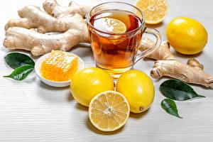 Картинка Чай Лимоны Мед Кружки Кружка