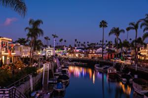 Фотографии США Рождество Дома Причалы Вечер Калифорния Водный канал Long Beach город