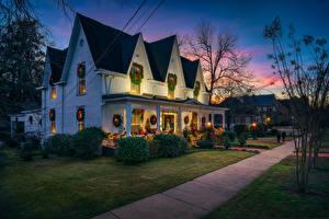 Фото Штаты Рождество Здания Улице Дизайна Кустов West Point Georgia город