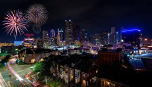 Обои Америка Дома Салют Улиц Ночь Dallas город