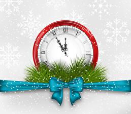 Картинка Векторная графика Рождество Часы Ленточка Бантики