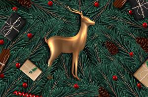 Картинка Векторная графика Новый год Олени Ветки Шишка Шарики Подарки
