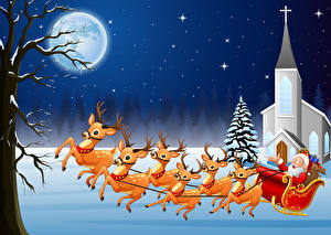 Фотографии Векторная графика Рождество Олени Луна Санта-Клаус Санки Снегу