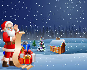 Обои Векторная графика Новый год Здания Снега Санта-Клаус Униформа Очки Подарок Новогодняя ёлка