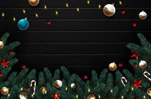 Картинка Векторная графика Рождество Леденцы Ветвь Шар Звездочки Электрическая гирлянда Шаблон поздравительной открытки