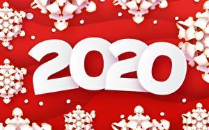 Обои Векторная графика Рождество Красный фон Снежинки 2020