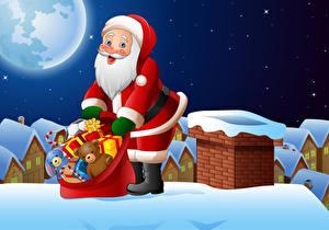 Фото Векторная графика Рождество Санта-Клаус Подарок Униформе Краши Луны Ночные
