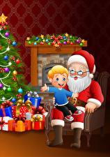 Фото Векторная графика Рождество Санта-Клаус Сидящие Мальчик Подарок Шар