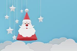 Обои Векторная графика Рождество Звездочки Облачно Дед Мороз