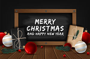 Фото Векторная графика Рождество Доски Слово - Надпись Шар Подарок Ветка Английский